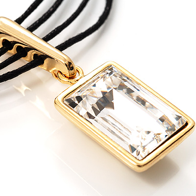 Emerald-Cut Clear Crystal Pendant