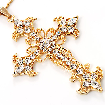 Gold Filigree Cross Fashion Pendant [N00071]