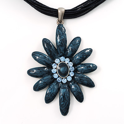 Blue Enamel Multi-Stranded Floral Pendant