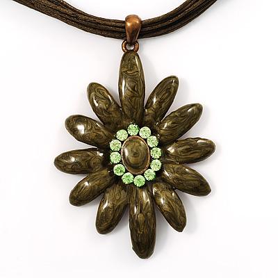 Olive Enamel Multi-Stranded Floral Pendant