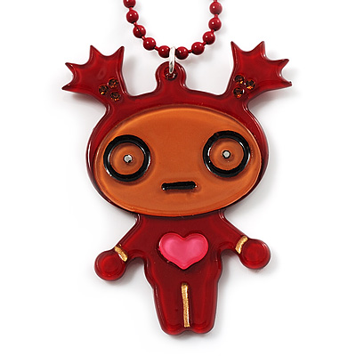 Crazy Love Girl Brown Plastic Pendant