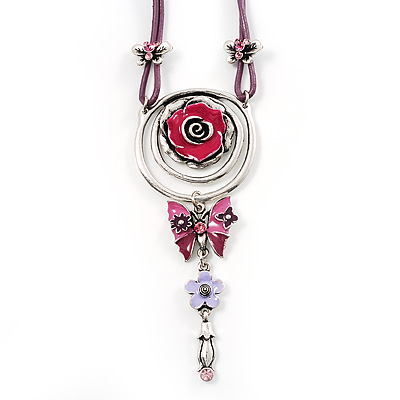 Rose And Butterfly Vintage Leather Cord Pendant (Purple, Pink&Lilac)