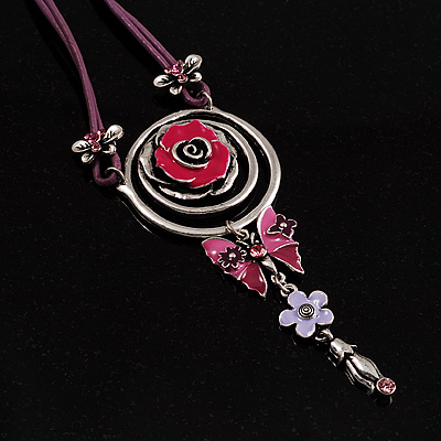 Rose And Butterfly Vintage Leather Cord Pendant (Purple, Pink&amp;Lilac)