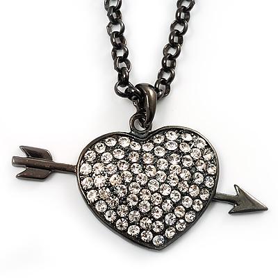 Black-Tone Clear Crystal Heart & Arrow Fashion Pendant