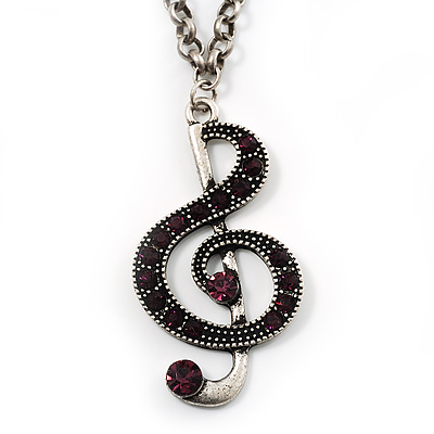 Antique Silver Tone Music Treble Clef Pendant (Purple) - main view