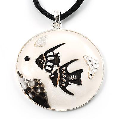Black&White Enamel Round Fish Cord Pendant