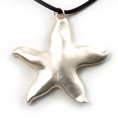 Silver Tone Star Rubber Cord Pendant