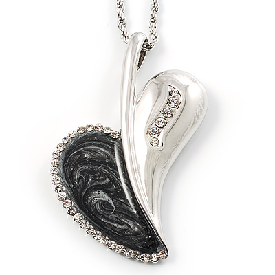Long Contemporary Heart Pendant (Silver Tone) - main view