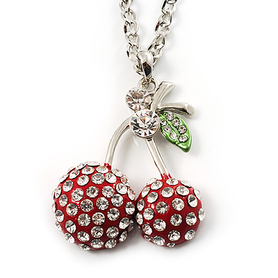 Long Double Cherry Crystal Pendant (Red)