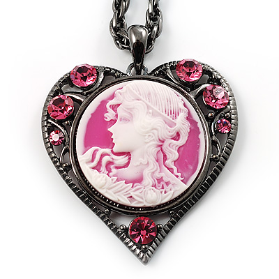 Pink Crystal Cameo &#039;Lady With Flowers&#039; Heart Pendant