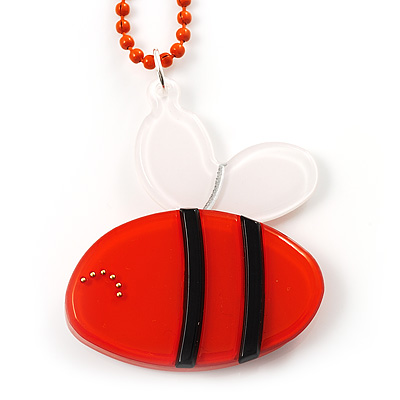 Orange Plastic Bee Pendant