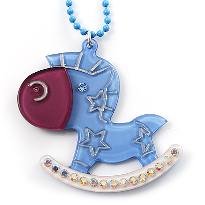 Light Blue Crystal Rocking Horse Pendant - main view