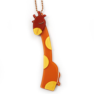 Tall Brown Plastic Giraffe Pendant