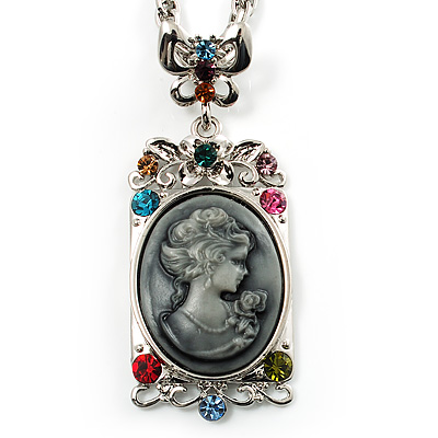 Long &#039;Classic Lady&#039; Multicoloured Crystal Cameo Pendant Necklace (Silver Tone)
