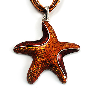 Light Brown Enamel Star Cotton Cord Pendant (Silver Tone)