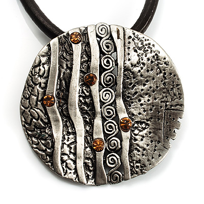 Ethnic Hammered Round Leather Cord Pendant (Burnished Silver Tone)