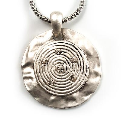 Silver Tone Patterned Medallion Pendant.