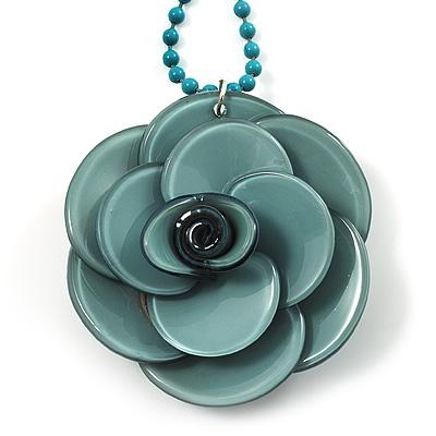 Pale Green  Acrylic Rose Pendant - 42cm
