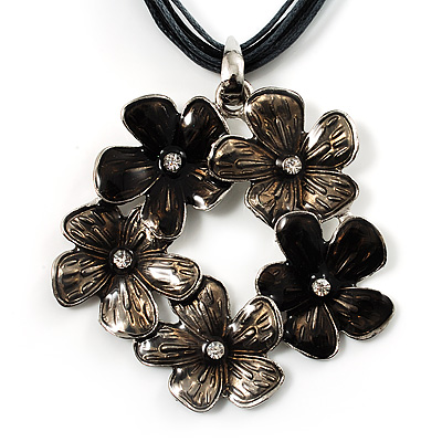 Slate Grey Enamel Floral Cotton Cord Pendant Necklace