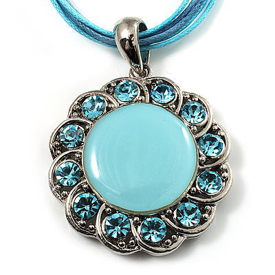 Light Blue Crystal Enamel Medallion Cotton Cord Pendant (Silver Tone) -38cm