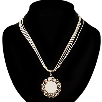 Milk White Crystal Enamel Medallion Cotton Cord Pendant (Silver Tone) -38cm