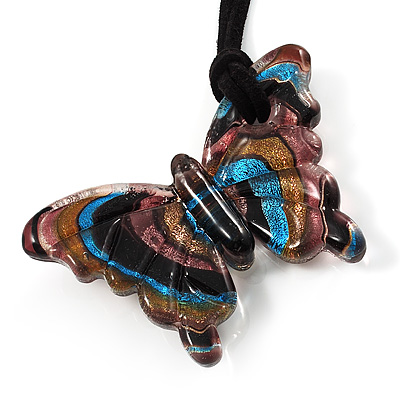 Multicoloured Glass Butterfly Suede Cord Pendant - 42cm