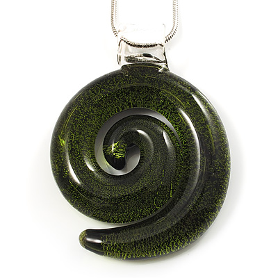 Olive Green Glass Snail Pendant Necklace (Silver Tone)