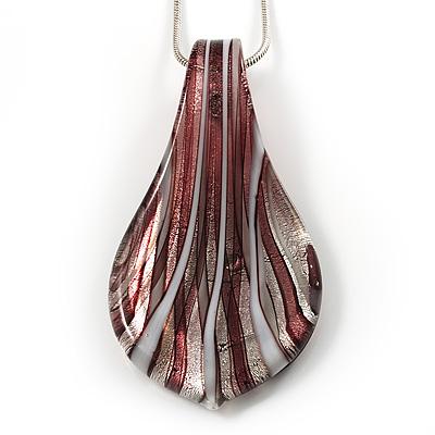 Glittering Glass Leaf Pendant Necklace (Silver Tone)