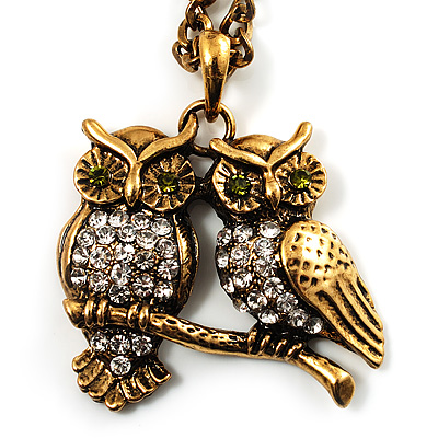 Long Diamante Owl Pendant Necklace (Antique Gold Tone) - 66cm