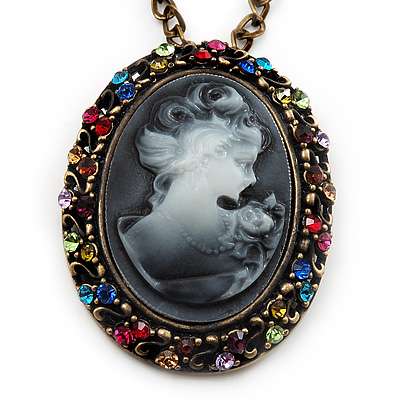 Dark Grey Crystal Cameo 'Lady With Rose Flower' Oval Pendant (Bronze Tone) - main view