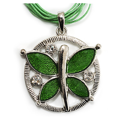 Lime Green Enamel Cotton Cord Butterfly Pendant Necklace (Silver Tone) - 40cm Length