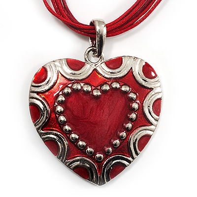 Red Enamel Heart Cotton Cord Pendant Necklace(Silver Tone) - 40cm Lengh
