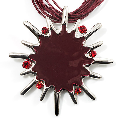 Burgundy Red Crystal Star Pendant With Cotton Cord Necklace (Silver Tone)