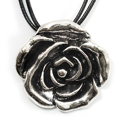 Antique Silver Rose Pendant With Leather Style Cord Necklace - 40cm Length
