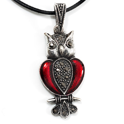 Marcasite Red Enamel Owl On Black Leather Cord Necklace - 40cm Length - main view