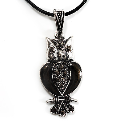 Marcasite Grey Black Enamel Owl On Black Leather Cord Necklace - 40cm Length