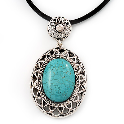 Burn Silver Turquoise Filigree Medallion Pendant On Leather Cord - 40cm Length