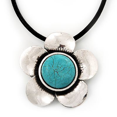 Burn Silver Turquoise Daisy Flower Pendant On Leather Cord - 40cm Length