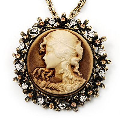 Victorian Diamante Round 'Cameo' Pendant Necklace In Antique Gold Metal Finish - 66cm Length with 6cm extension - main view
