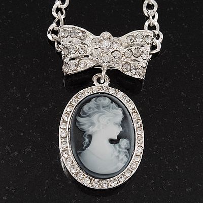 Diamante 'Cameo With Bow' Pendant Necklace In Antique Silver Metal Finish - 56cm Length with 6cm extension