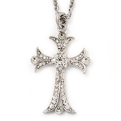 Victorian Diamante Cross Pendant Necklace In Rhodium Plated Metal - 62cm Length with 6cm extension