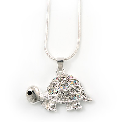 Cute Crystal Turtle Pendant Necklace In Rhodium Plated Metal - 44cm Length - main view