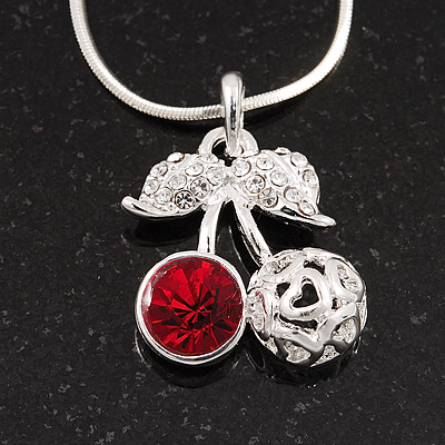 Sweet Diamante Double Cherry Pendant Necklace In Rhodium Plated Metal - 46cm Length