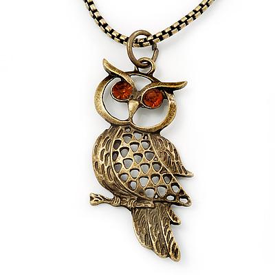 Long Filigree Owl Pendant Necklace In Burn Gold Metal - 66cm length
