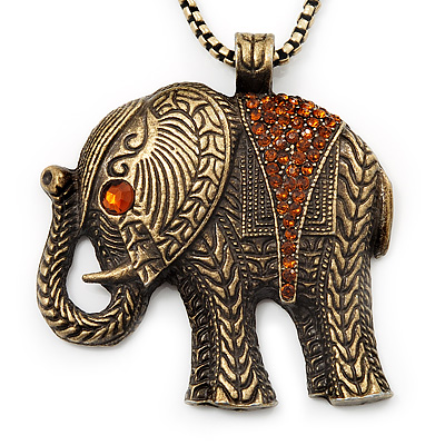Long Hammered Diamante Elephant Pendant Necklace In Bronze Metal Finish - 66cm Length