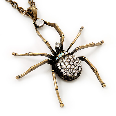 Shimmering Diamante Spider Pendant Necklace In Antique Gold Tone Metal - 60cm Length