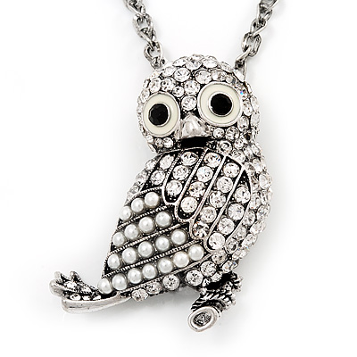 Long Cute Crystal &amp; Pearl Owl Pendant Necklace In Antique Silver Metal - 60cm Length (10cm Extension)