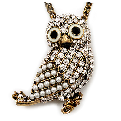 Long Cute Crystal & Pearl Owl Pendant Necklace In Antique Gold Metal - 60cm Length (10cm Extension)