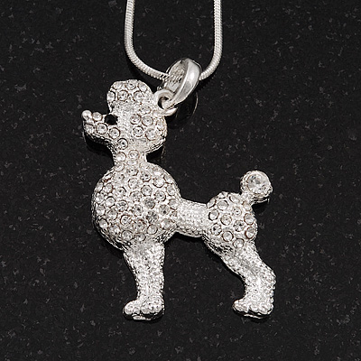 Clear Crystal 'Poodle' Pendant Necklace In Silver Plated Metal - 42cm Length