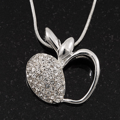 Silver Plated Diamante Open Apple Pendant Necklace - 42cm Length - main view